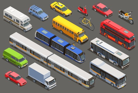 Public city transport isometric icons collection with isolated images of private cars bikes and municipal transport vector illustration