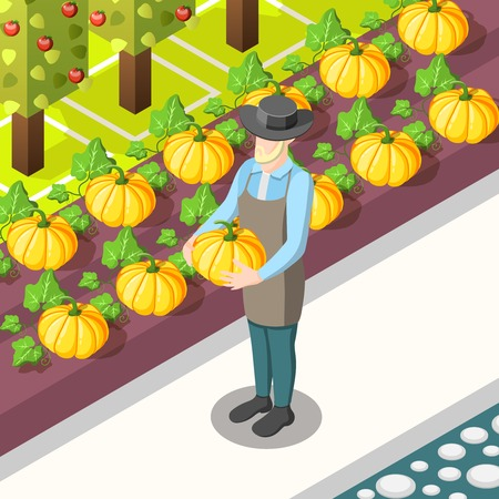 Organic food isometric background with farmer, harvest of pumpkins, garden with apple trees vector illustration