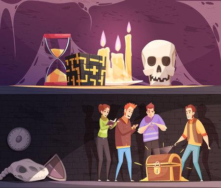 Bannières horizontales de quête de réalité avec salle d'évasion et trouver des compositions de dessin animé de jeu de trésor illustration vectorielle