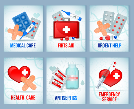 First aid kit supply equipment compositions for emergency medical treatment 6 realistic cards set isolated vector illustration  Stock Illustratie