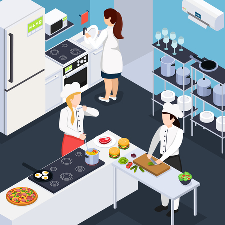 Home staff isometric composition with people in kitchen interior cooking dinner and washing  dishes vector illustration Ilustração