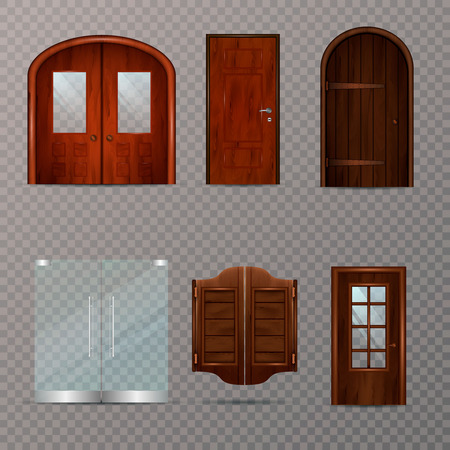 Entrance doors set of realistic 3d images on transparent background with modern and classic design options vector illustration