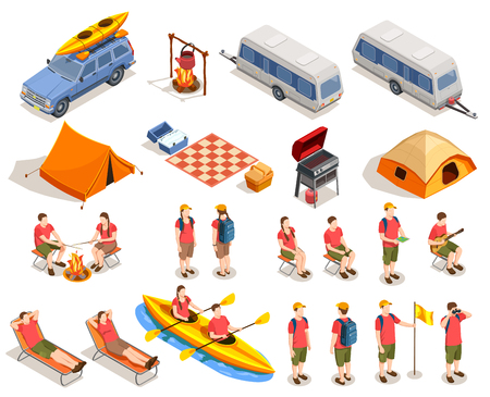 Camping hiking isometric icons collection with isolated images of winniebago trailers tents deck chairs and people vector illustration