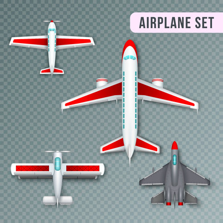 Airplane passenger propeller and jet planes and military aircraft realistic top view images collection transparent vector illustration Imagens - 100305539