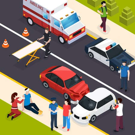 Emergency team isometric composition showing car accident with watchers paramedics providing first aid policeman interviewing witnesses vector illustration