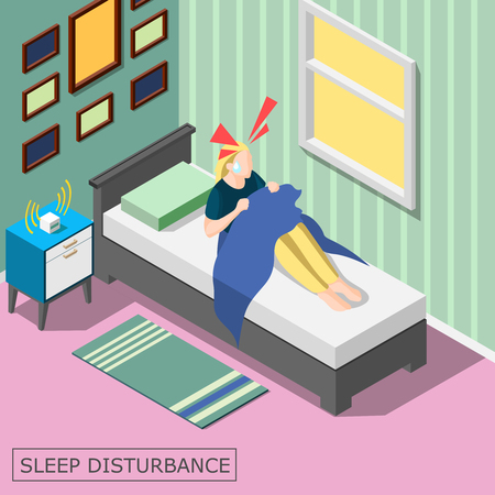 Sleep disturbance isometric background with woman awaking with head ache in home interior vector illustration