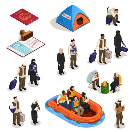 Staatloze vluchtelingen asiel pictogrammen isometrische collectie met geïsoleerde afbeeldingen van documenten en menselijke karakters van mensen vector illustratie