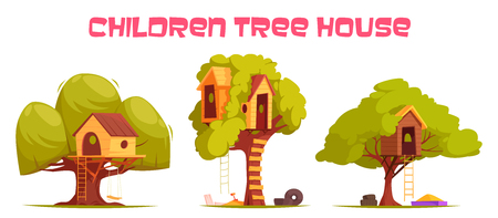 Tree houses between green foliage set with hanging ladder, swing and sand for play isolated vector illustration Banque d'images - 100306338
