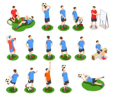 Kolekcja ikon izometrycznych ludzi piłka nożna piłka nożna na białym tle postaci ludzkich graczy w mundurach z ilustracji wektorowych piłki