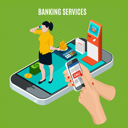 Banking services isometric composition on green background with communication between clerk and client by phone vector illustration Illustration