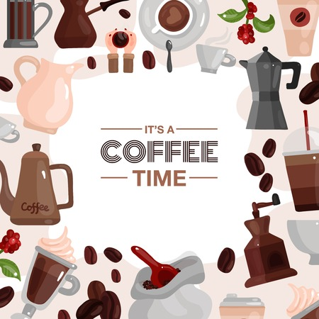 Coffee time decorative frame composed of coffee pot cezve coffee grinder devices flat vector illustration