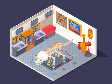 Museum isometric composition with room interior and dinosaur skeleton model with rare collections and antique showpieces vector illustration