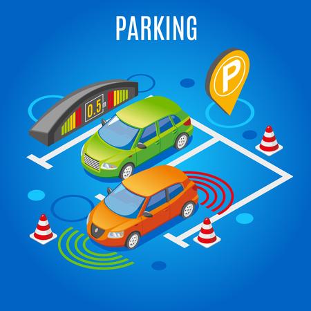 Arrière-plan coloré de stationnement isométrique avec grand élément parktronik de titre blanc et la voiture est illustration vectorielle garée