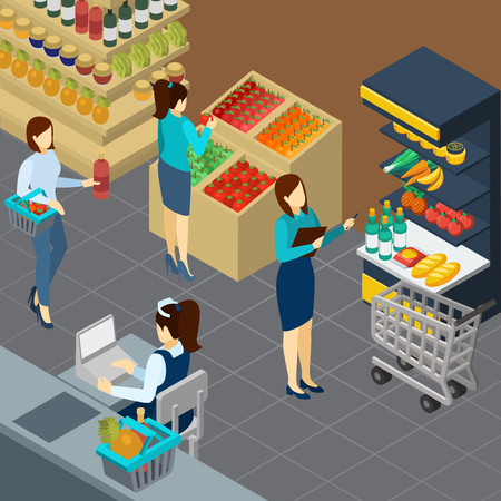 Grocery store isometric background with food products on counters buyers and working staff vector illustration