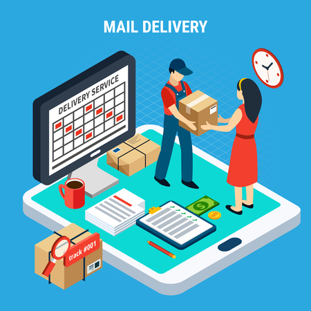Mail isometric isolated composition situation with the transfer of parcel from courier to client vector illustration Banque d'images - 100323342