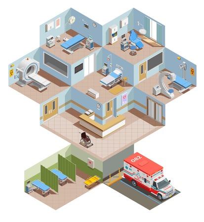 Composición isométrica de equipos médicos con vista en elevación del centro hospitalario con interiores de habitaciones e instalaciones de salud ilustración vectorial Ilustración de vector