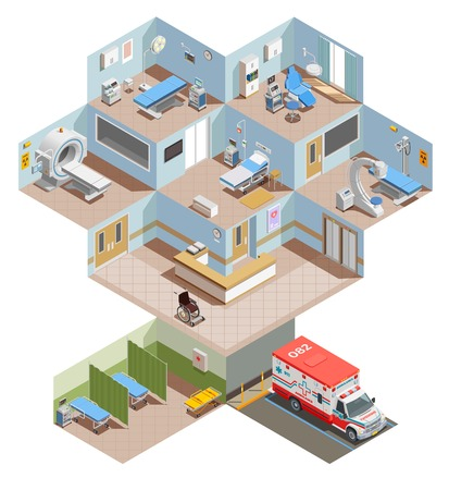 Medical equipment isometric composition with elevation view of hospital center with room interiors and health facilities vector illustration