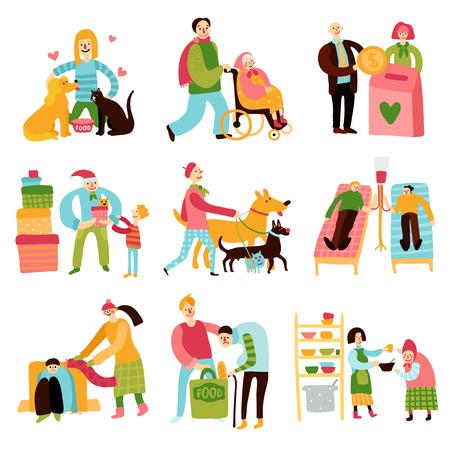 Los valores de caridad conjunto plana con voluntarios ayudar y ayudar a las personas de apoyo y animales aislados sobre fondo blanco ilustración vectorial Foto de archivo - 102089405