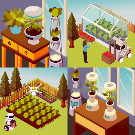 Agricultural robots isometric 2x2 design concept set of square compositions representing robotised environment of husbandry farm vector illustration