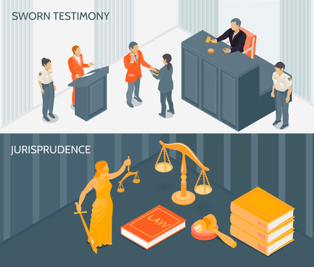 Isometric horizontal banners set with process of sworn testimony and various law and justice symbols 3d vector illustration