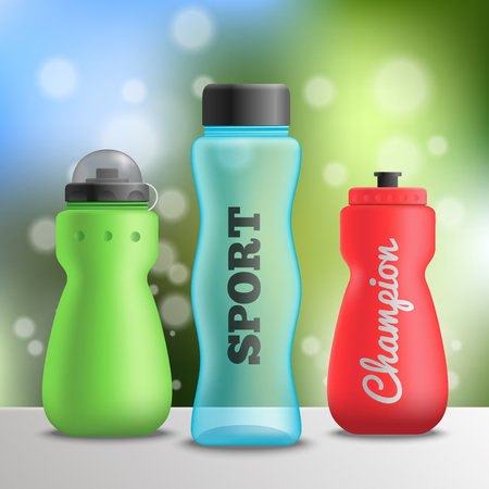 Fitness bottles realistic composition of three bottles on shelf surface and blurry background with text vector illustration