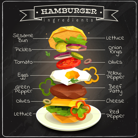 Hamburger ingredients including sesame bun, vegetables, eggs, beef patty, lettuce, infographics on chalk board vector illustration