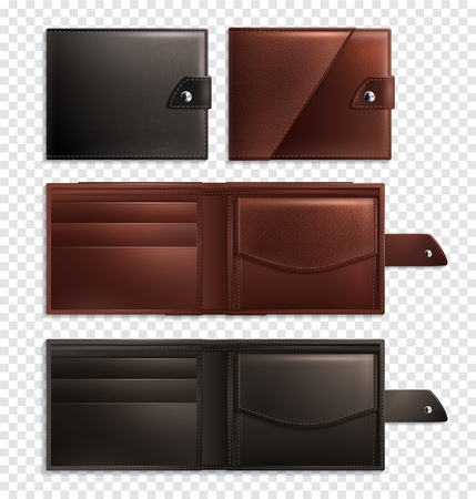 Three stylish realistic wallet transparent icon set opened and closed empty and brown vector illustration