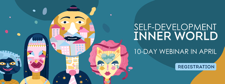 Inner world self-development online webinar registration webpage header with personality types characters symbols abstract vector illustration Stockfoto - 100527943