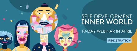 Innerlijke wereld zelfontwikkeling online webinar registratie webpagina koptekst met persoonlijkheidstypen tekens symbolen abstract vectorillustratie