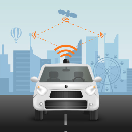 Autonomous car realistic composition with scheme of radio-controlled automobile remote command operation from satellite with pictograms vector illustration
