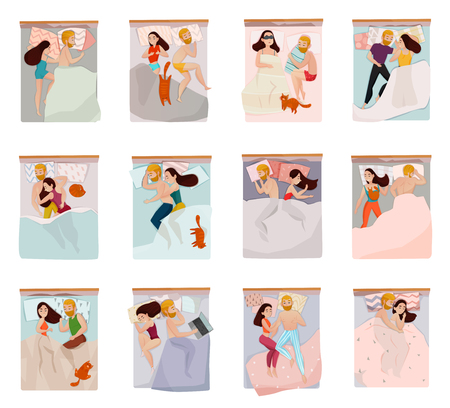 Couple sleeping poses set with relations symbols flat isolated vector illustration 일러스트
