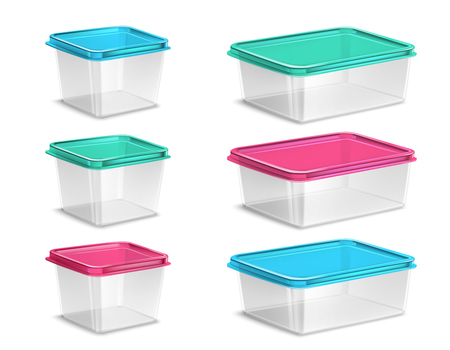 Set of plastic food containers of various volume with colored lids and transparent bowls isolated vector illustration 일러스트