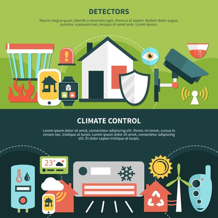 Home security banners with detectors and climate control