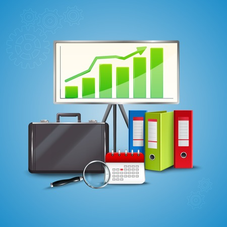Colorful business concept with folders calendar magnifier stand and bag on blue background realistic vector illustration