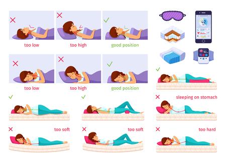 Ilustración de dibujos animados de plantilla de infografía para dormir correcta.