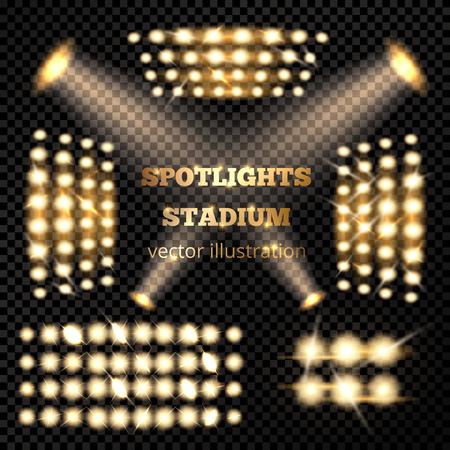 Stadium spotlight set in gold on dark transparent background vector illustration