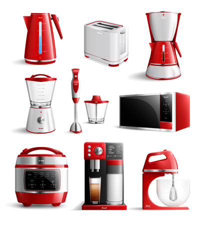 Colored realistic household kitchen appliances icon set.