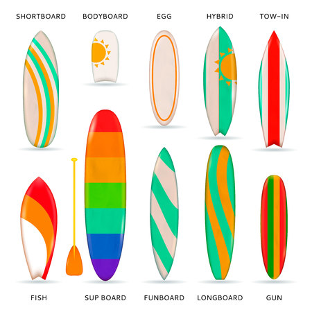 Surfboards colored realistic collection of different models designs and sizes with description isolated vector illustration