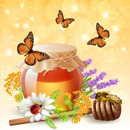 Flying butterflies ladybird and honeybees realistic composition of insects with lavender and wildflowers honey jar vector illustration