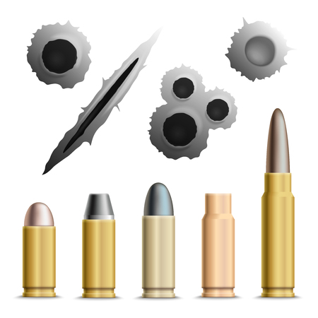 Bullets and holes realistic set of isolated grey bullet holes and metallic ammunition rounds with shadows illustration