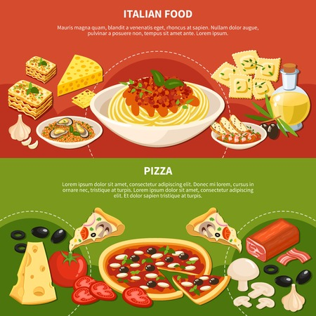 Italian dishes horizontal banners with icons showing ingredients used in popular meals of traditional cuisine flat vector illustration