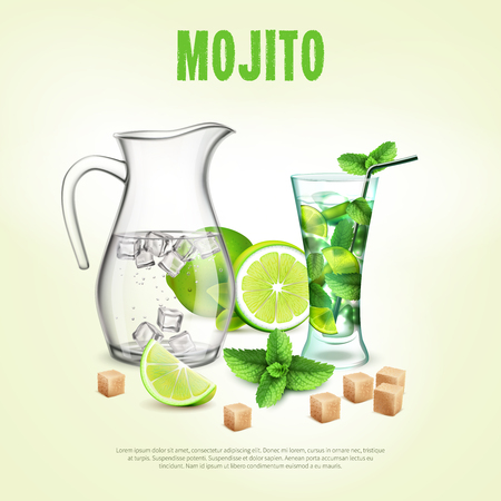 Mojito poster realistic composition vector illustration