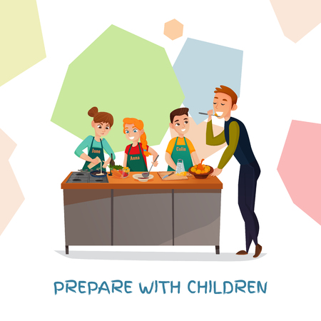 Kids culinary TV show with dishes and ingredients flat vector illustration. Illustration