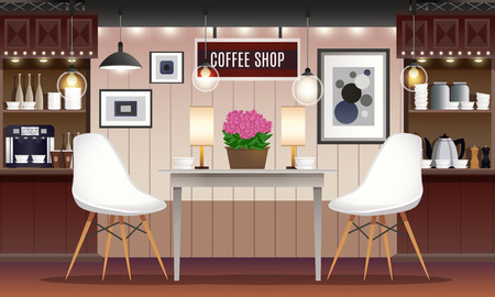 Cafe coffee shop interior realistic set with chairs stools tables lamps and counter isolated vector illustration Illustration