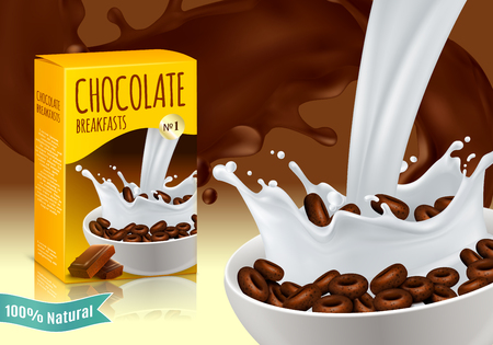 Chocolate breakfast cereal vector illustration Çizim