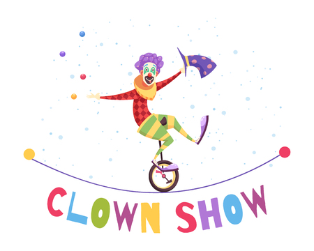 Clown show composition with juggler vector illustration Stock Illustratie