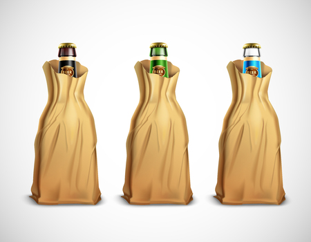 Set of glass beer bottles in paper bags vector illustration 스톡 콘텐츠 - 100475210