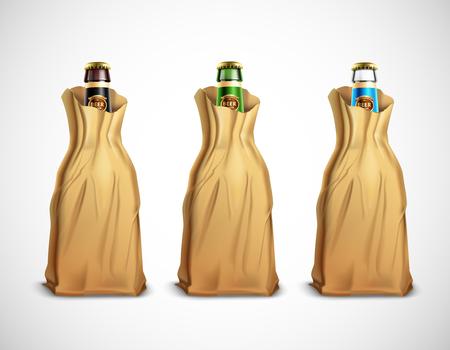 Set of glass beer bottles in paper bags vector illustration