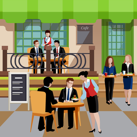 Flat business lunch people concept Illustration