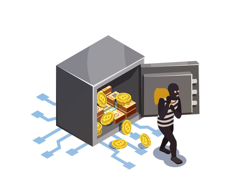 Data encryption cyber security isometric composition Illustration